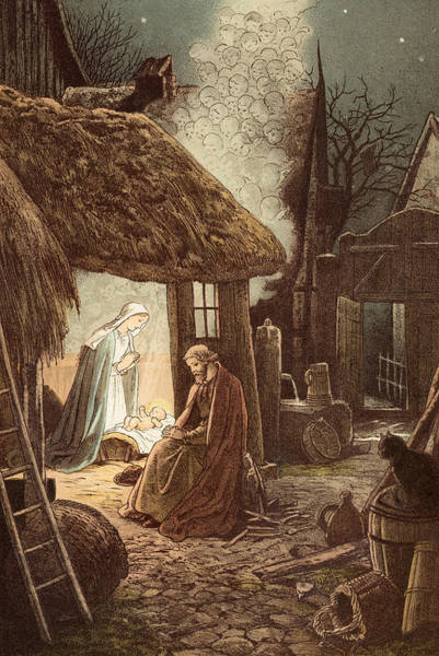 Star Of Bethlehem Painting - Laid In A Manger by Victor Paul Mohn