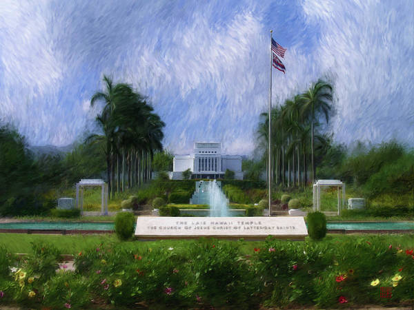 Painting - Laie Hawaii Temple by Geoffrey Lewis