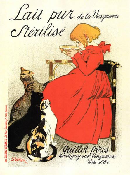Wall Art - Mixed Media - Lait Pur De La Vingeanne Sterilise - Pure Milk - Quillot Brothers - Vintage Advertising Poster by Studio Grafiikka