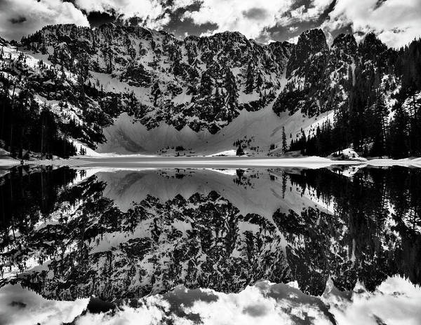 Crevice Photograph - Lake 22 Winter Black And White Reflection by Pelo Blanco Photo