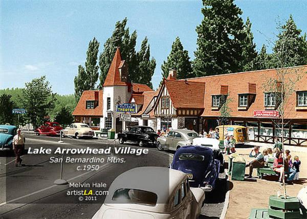 Wall Art - Painting - Lake Arrowhead Village San Bernardino Mtns C1950 by Melvin Hale PhD - ArtistLA