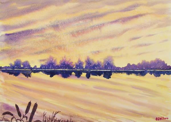 Bullrush Painting - Lake At Dawn by Tony Williams