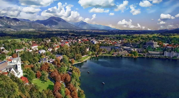 Photograph - Lake Bled And City View by Anthony Dezenzio