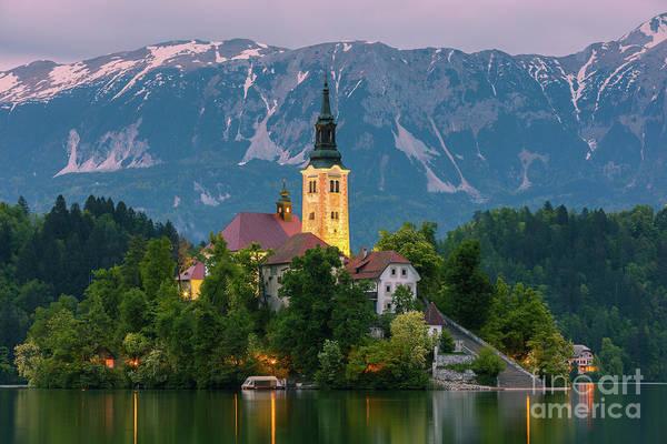 Lake Bled At Twilight, Slovenia Art Print