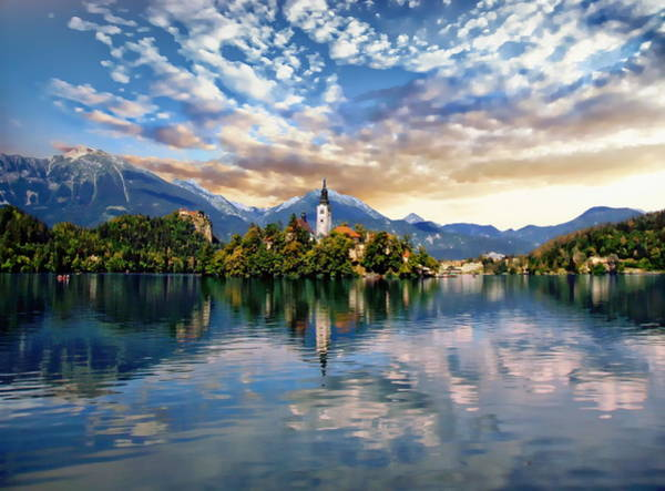 Photograph - Lake Bled Autumn View by Anthony Dezenzio
