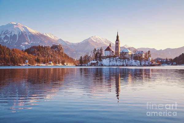 Wall Art - Photograph - Lake Bled Winter Sunrise by JR Photography