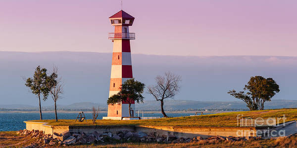 Photograph - Lake Buchanan Lighthouse In Golden Hour Sunset Light - Texas Hill Country by Silvio Ligutti