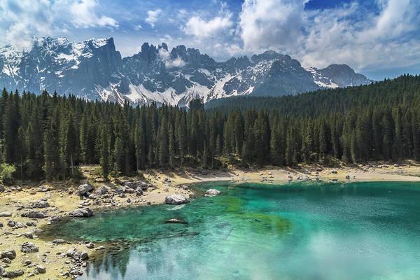 Northern Italy Photograph - Lake Carezza And Mountain Range by Melanie Viola