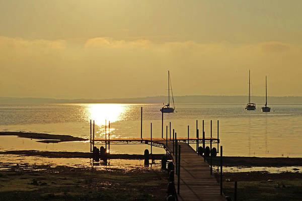 Photograph - Lake Champlain Sunrise From From Lee Park Playground Westport New York by Toby McGuire