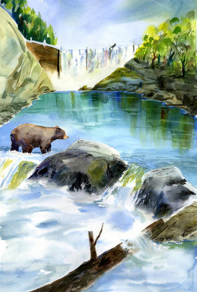 Painting - Lake Clementine Falls Bear by Joan Chlarson