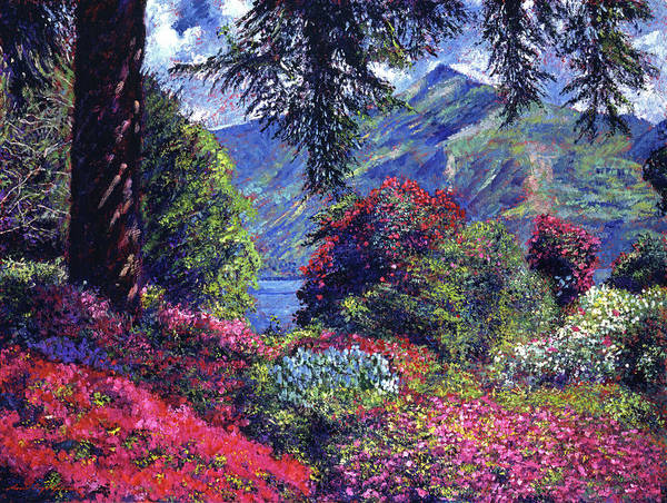 Lake Como Painting -  Lake Como Villa Carlotta Italy by David Lloyd Glover