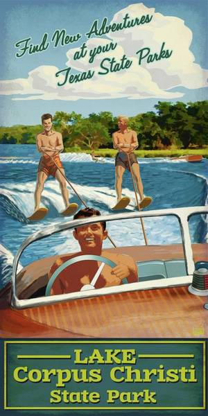 Speed Boat Digital Art - Lake Corpus Christi State Park by Jim Sanders