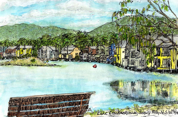 New South Wales Drawing - Lake Crackenback by Anne Huth