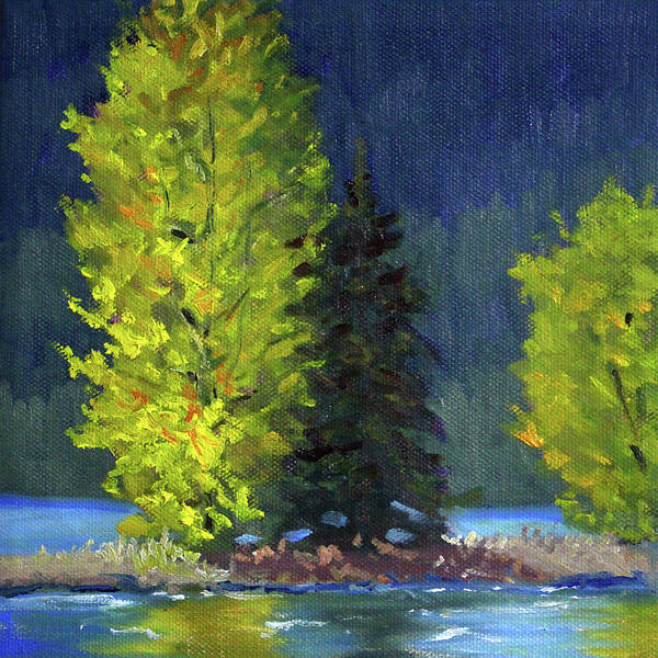Wall Art - Painting - Lake Cushman Trees by Nancy Merkle