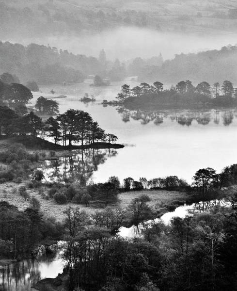 Grasmere Wall Art - Photograph - Lake District National Park. Rydal Water Winter Blue.    Black And White by David Lyons