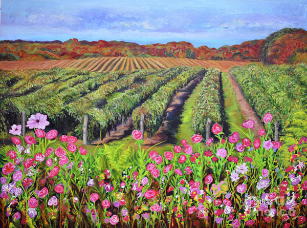 Painting - Lake Erie Vineyard-fall Colors by Anne Cameron Cutri
