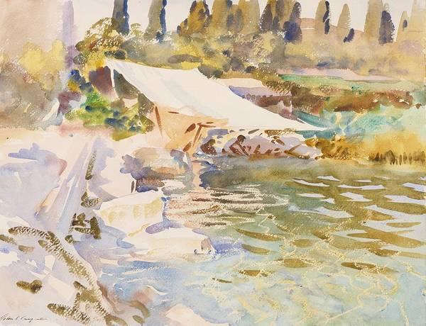 Impressionistic Drawing - Lake Garda by John Singer Sargent