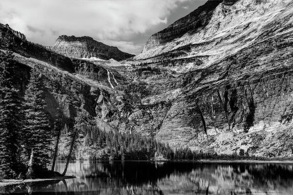 Photograph - Lake Grinnell In Glacier National Park In Black And White by Kay Brewer