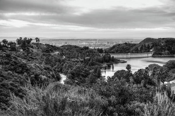 Photograph - Lake Hollywood From Hollywood Hills In Black And White - Los Angeles California by Gregory Ballos