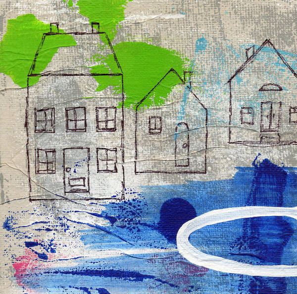 Grey Skies Wall Art - Painting - Lake Houses by Linda Woods