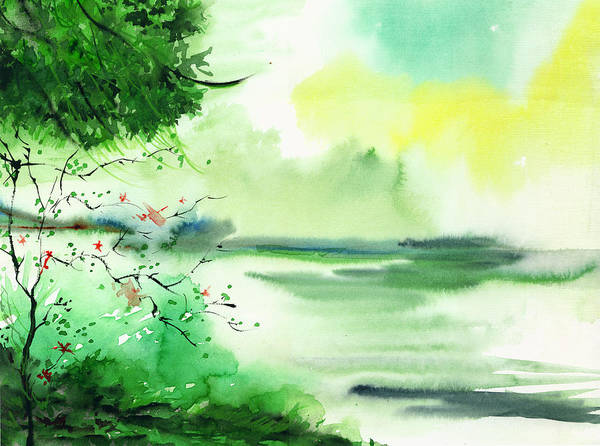 Painting - Lake In Clouds by Anil Nene