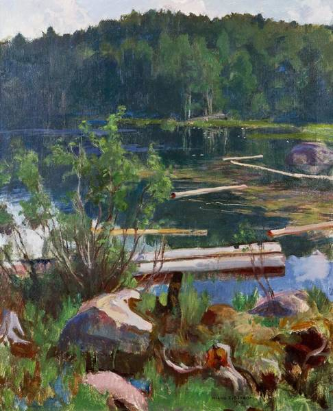 Painting - Lake Landscape by Celestial Images