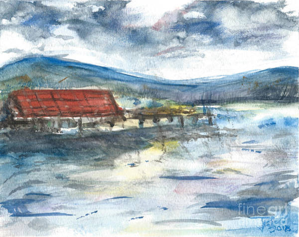 Painting - Lake Leatherwood Eureka Springs Boat Dock  by Reed Novotny