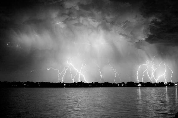 Photograph - Lake Lightning Bw by James BO Insogna