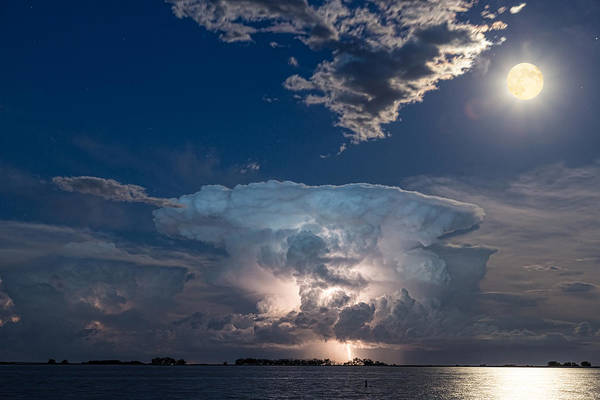 Photograph - Lake Lightning Striking Thunderstorm Cell And Full Moon by James BO Insogna