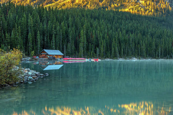 Photograph - Lake Louise Canoe Shack In Autumn by Pierre Leclerc Photography