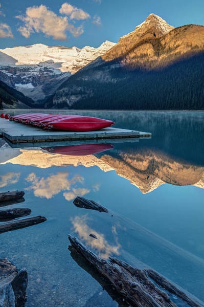 Photograph - Lake Louise Canoes At Sunrise by Pierre Leclerc Photography