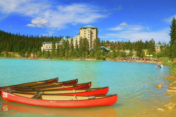 Photograph - Red Canoes - Lake Louise Alberta Canada by Ola Allen