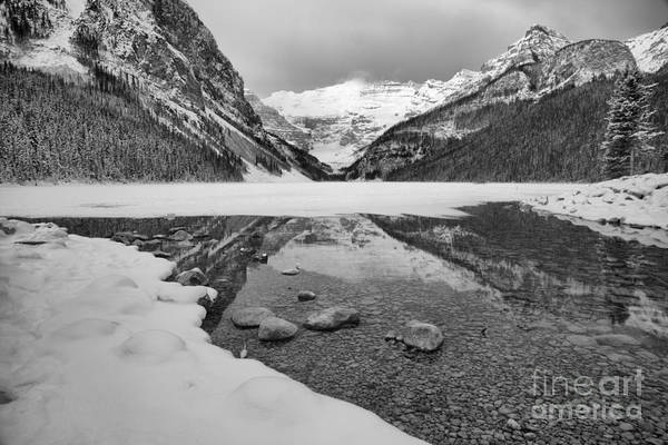 Photograph - Lake Louise Snowy Reflections Black And White by Adam Jewell