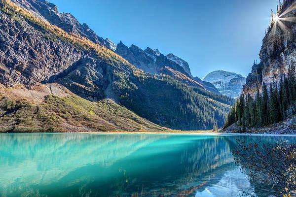 Photograph - Lake Louise Sunburst by Pierre Leclerc Photography