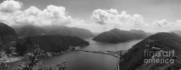 Photograph - Lake Lugano Switzerland In Black And White by Alissa Beth Photography