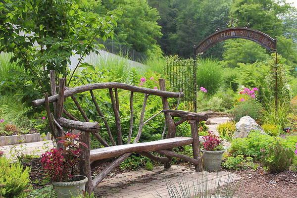 Photograph - Lake Lure Flowering Bridge Bench by Allen Nice-Webb