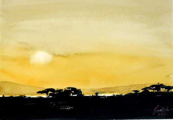 Wall Art - Painting - Lake Manyara Sunset by James Nyika