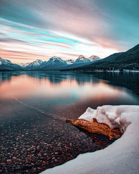 Photograph - Lake Mcdonald April Sunset 2017 Hdr by Jedediah Hohf