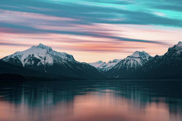 Photograph - Lake Mcdonald April Sunset 2017 by Jedediah Hohf