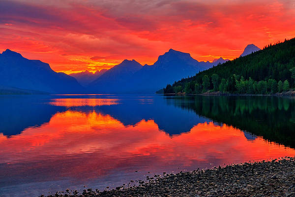Photograph - Lake Mcdonald Fiery Sunrise by Greg Norrell