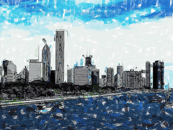 Painting - Lake Michigan And The Chicago Skyline by Dean Wittle