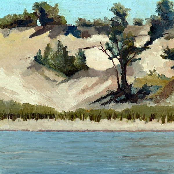 Painting - Lake Michigan Dune With Trees And Beach Grass by Michelle Calkins