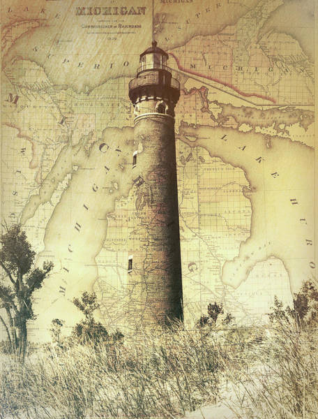 Mixed Media - Lake Michigan Map And Lighthouse by Dan Sproul