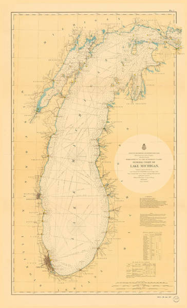 Photograph - Lake Michigan Nautical Map by Fran Riley