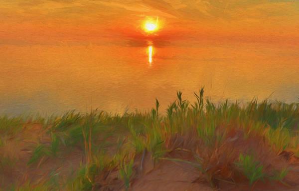 Wall Art - Painting - Lake Michigan Sand Dune Sunset by Dan Sproul