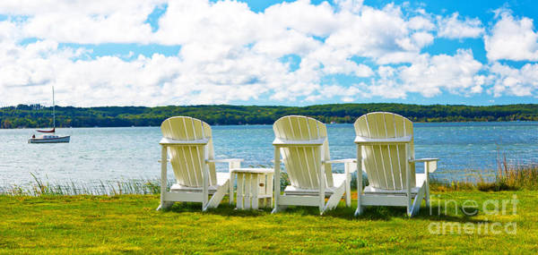 Wall Art - Photograph - Lake Michingan Adirondack Chairs On The Shore by ELITE IMAGE photography By Chad McDermott