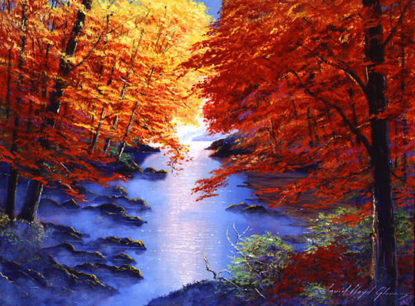 Painting - Lake Mist In Autumn by David Lloyd Glover