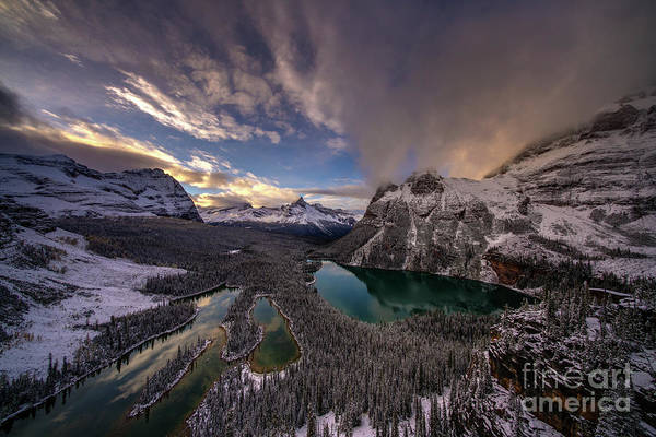 Vermillion Lakes Wall Art - Photograph - Lake Ohara Sunset Winterscape From Opabin Prospect by Mike Reid