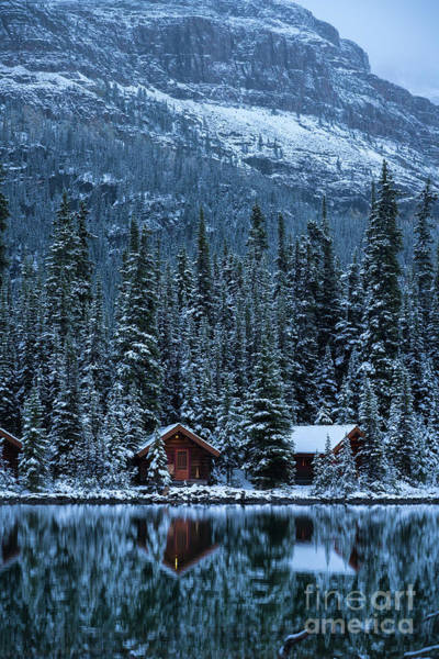 Vermillion Lakes Wall Art - Photograph - Lake Ohara Winter Cottages Reflected by Mike Reid