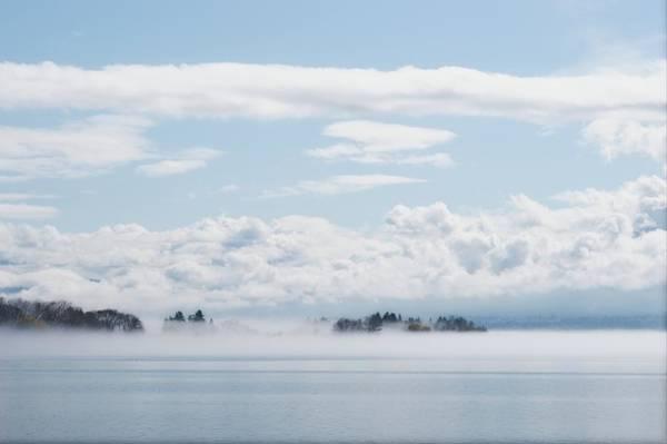 Wall Art - Photograph - Lake Okanagan Fog And Clouds by Allan Van Gasbeck
